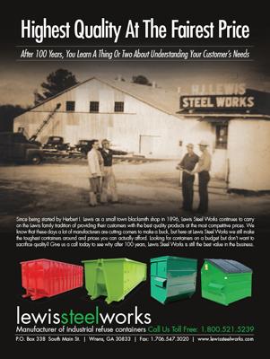 Lewis Steel Works Waste Industry Magazine Ad Design