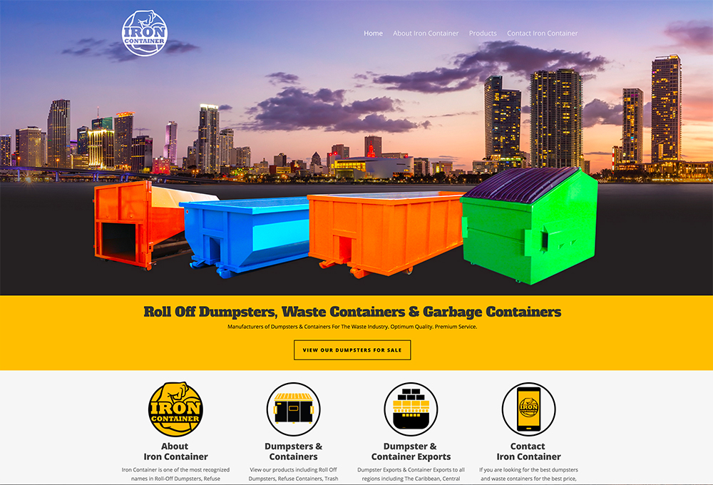 Dumpster Company website design - Iron Container