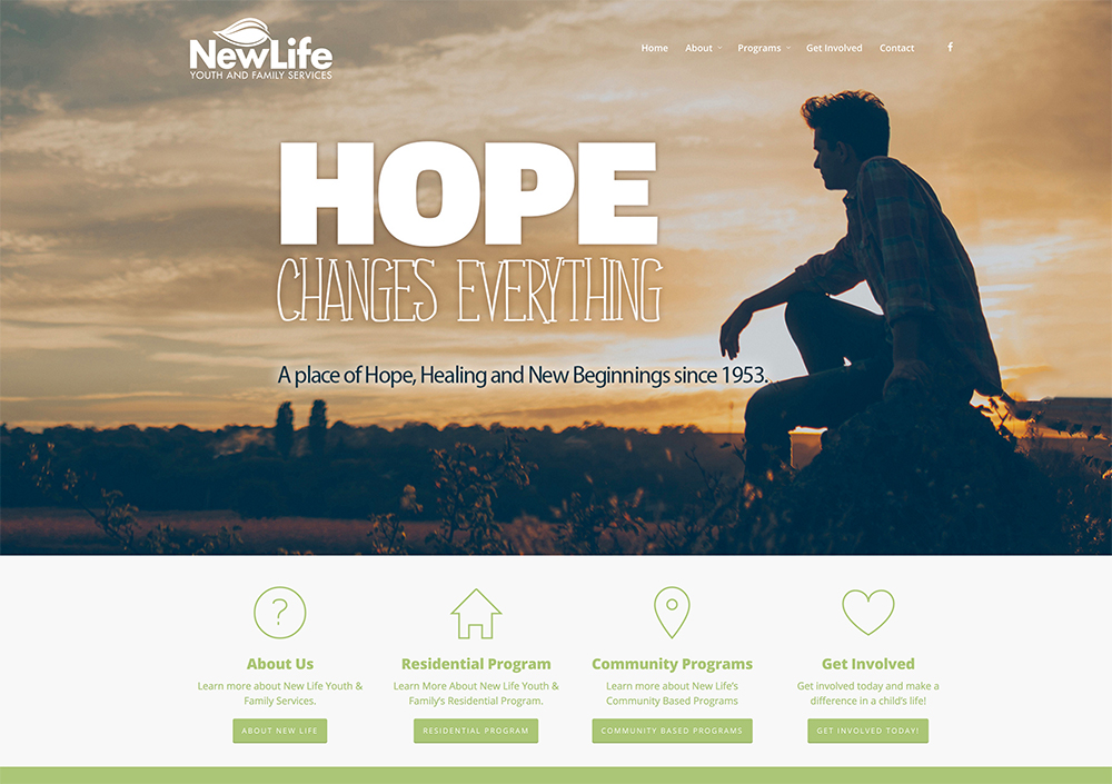 Non profit website design - New Life