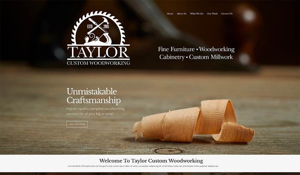 Woodworking Company Website Design
