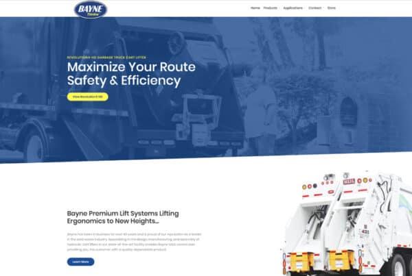 Bayne Garbage Truck Equipment Website Design