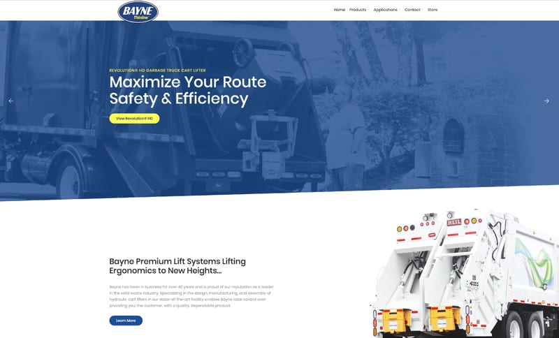 Bayne Garbage Truck Equipment Website Design
